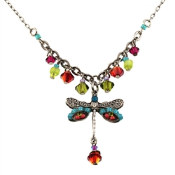 Firefly Dragonfly Necklace Silver Tone
