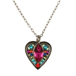Firefly Magenta Marquis Heart Necklace