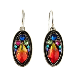 Firefly Orange Flame Crystal Oval Earring
