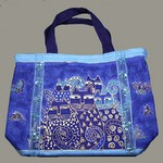 Laurel Burch Bag-Indigo Cats