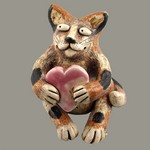 Spotted Cat with Heart Statue