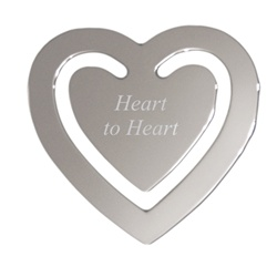 Engravable Nickel Plated Heart Bookmark