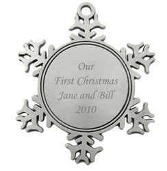 Engraved Snowflake Pewter Ornament