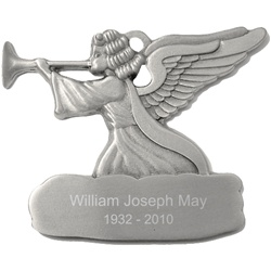 Engraved Angel with Trumpet Pewter Ornament