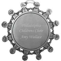 Engraved Children All Around Pewter Ornament