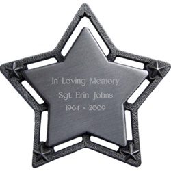 Personalized  Large Star Pewter Christmas Ornament