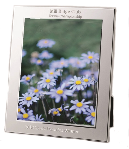 engravable 2 tone brushed silver metal 8x10 photo or picture frame