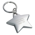Personalized Silver Star Key Chain