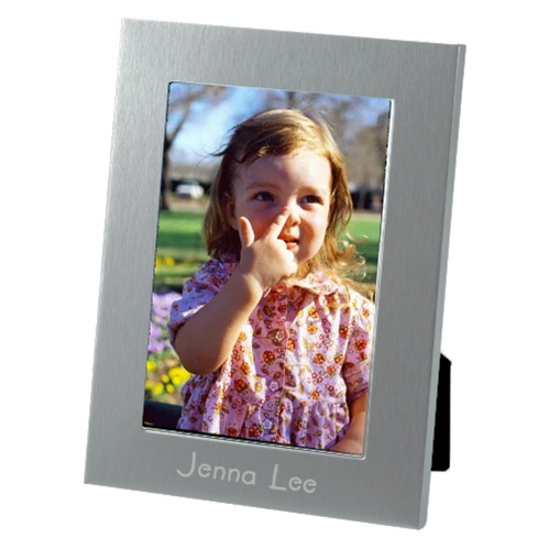 Engraved 5X7 Brushed Aluminum Picture Frame Personalized