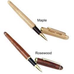 Rosewood or Maple Engraved Rollerball Pen