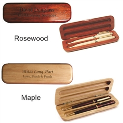 Personalized Double Wood Pen Box or Pencil Box