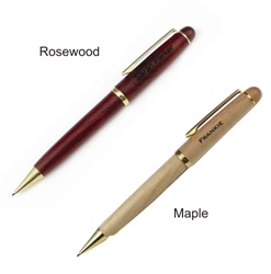 Maple or Rosewood Engraved Mechanical Pencil