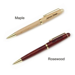 Maple or Rosewood Engraved Ballpoint Pen