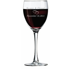Round Stem Engraved Wine Glass