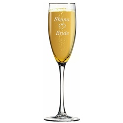 Round Stem Engraved Champagne Flute