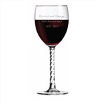 Engraved Wine Glass with Twisted Stem