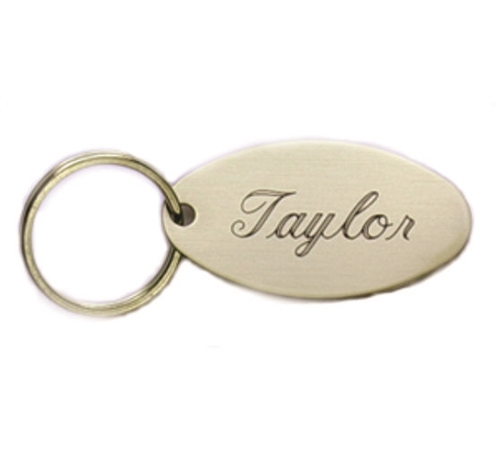brass oval engraved key chain or key ring