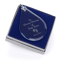 Engravable Glass Teardrop Ornament