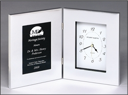 Silver Hinged Clock Personalized Award