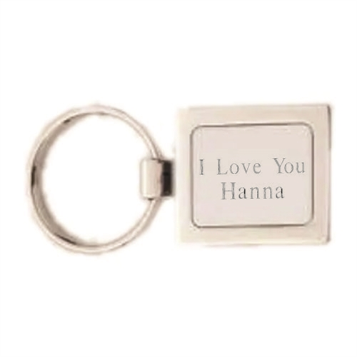 Engraved Square Nickel Key Ring
