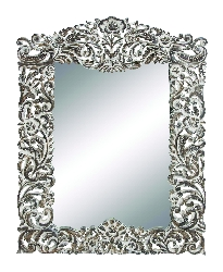 "Camden Floral 52"" Carved Wood Mirror"