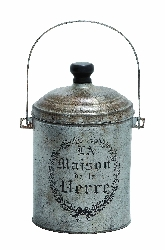 Atticus Galvanized Canister With Vintage Label