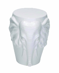 Aadya White Ceramic Elephant Face Stool