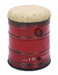 Max 1958 Industrial Red Drum Barrel Stool