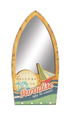Friskop Beach Themed Wood Wall Mirror