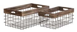 Creedence Metal & Wood Basket Set/2