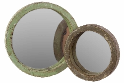 Matilde Round Wood Wall Mirror Set/2