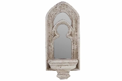 Macaria Stone Style Mirrored Candle Wall Sconce