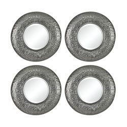 Halingsden-Set Of 4 Mini Mirrors In Hammered Metal Frame