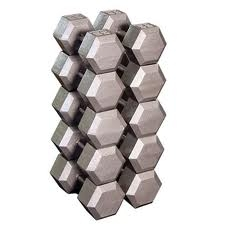 Cast Iron Hex Dumbbells (55-75lb set)