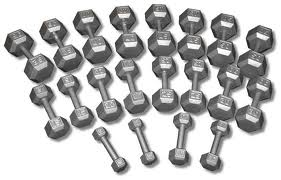 Cast Iron Hex Dumbbells (5-50 lb set)