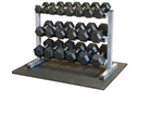5-50lb. Rubber Dumbbell Package with Rack and Protective Floor Mat