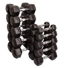 Rubber Hex Dumbbell Set (5-50 LB Set)