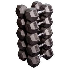 Rubber Hex Dumbbell Set (55-75 LB Set)