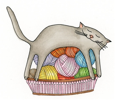 Cat on Yarn Basket 892-03