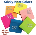 6 pads of 100 each 3 x 3 Bright Sticky-Notes