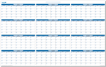 "Full Size Forever Yearly Wall Planner 24"" x 38"" - Dry Erasable"