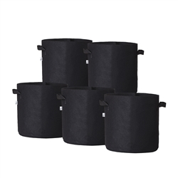 Hydro Crunch 15 in. x 16 in. 15 Gal. Breathable Fabric Pot Bags with Handles Black Felt Grow Pot (5-Pack)