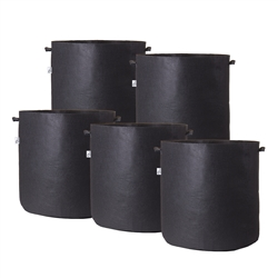 Hydro Crunch 19 in. x 19 in. 25 Gal. Breathable Fabric Pot Bags with Handles Black Felt Grow Pot (5-Pack)