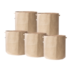 Hydro Crunch 15.25 in. x 19 in. 20 Gal. Breathable Fabric Pot Bags with Handles Tan Felt Grow Pot (5-Pack)