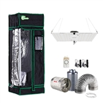 200-Watt Equivalent White Light Full Spectrum LED Plant Grow Light Fixture with Grow Tent and Ventilation System