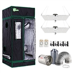 400-Watt Equivalent White Light Full Spectrum LED Plant Grow Light Fixture with Grow Tent and Ventilation System