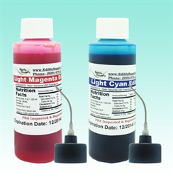 2 oz - Light Cyan & Light Magenta Edible Ink Refill Bottle Combo for Epson Printer