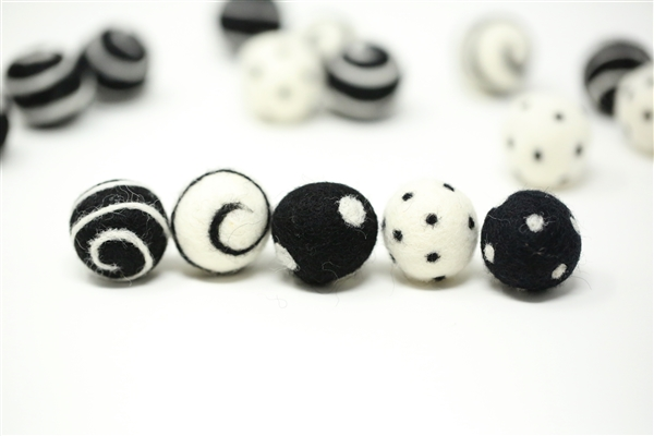 Felt Balls -  Black Dots & Swirls
