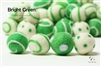 Felt Balls -  Bright Green Dots & Swirls