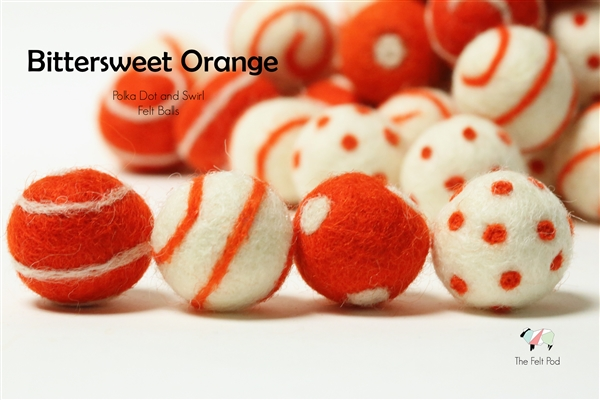 Felt Balls -  Bittersweet Orange Dots & Swirls